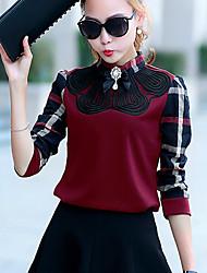 Damen T-Shirt  -  Knopf Nylon Langarm Rollkragen