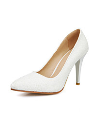 Women's Shoes Glitter Stiletto Heel Heels/Pointed Toe Pumps/Heels Wedding/Dress White/Gold