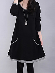 Women's Patchwork Black / Navy Blue Dress , Casual / Party / Plus Sizes Fleece Lining Loose Slim Long Sleeve Cotton