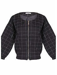 Women's Solid Color Black Coats & Jackets , Casual Round Long Sleeve