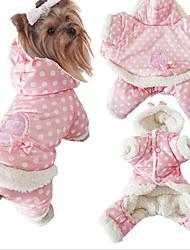 Dog Coat / Hoodie / Pajamas Pink Dog Clothes Winter / Spring/Fall Polka Dots Cute / Keep Warm
