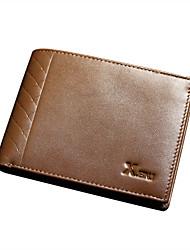X.BNJ Men Wallet Vintage Genuine Leather Unique Design Card Holder Men Top Layer Cowhide Business Biford Brown