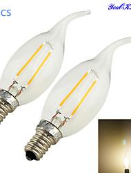 2W E14 LED Kerzen-Glühbirnen CA35 2 COB 200 lm Warmes Weiß Dekorativ AC 220-240 V 2 Stück