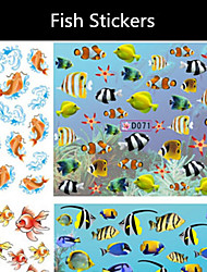1PCS Swimming Fish Water Nail Sticker 6 Style Fish Ocean Summer Water Transfer Nail Decals