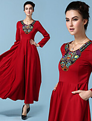 Women's Solid Color Red Dresses , Casual Round Long Sleeve