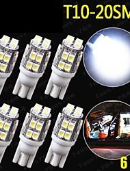6 x T10 20-SMD LED blanc 6000k super lumineux feux de voiture ampoule 194,168,2825, nous W5W
