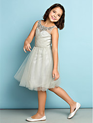 Knee-length Tulle Junior Bridesmaid Dress - Silver A-line Scoop