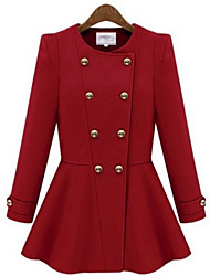 Women's Solid Blue / Red /  almond Coat , Casual Long Sleeve Cotton