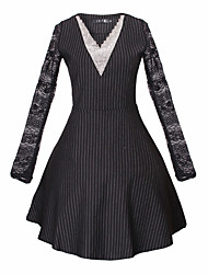 Women's Striped Black Dresses , Casual V-Neck Long Sleeve