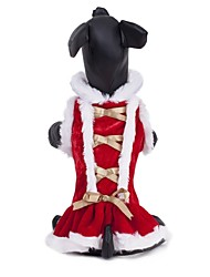 Cat / Dog Dress Red Dog Clothes Winter Christmas Wedding / Cosplay