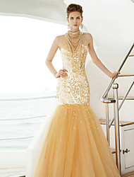 Formal Evening Dress - Gold Trumpet/Mermaid High Neck Floor-length Tulle