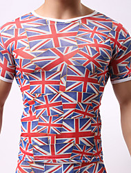 The union jack design men's tight t-shirts(Not including underwear)