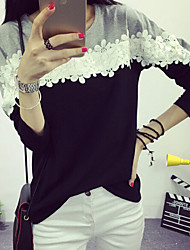 Women's Casual/Daily Simple Fall Blouse,Patchwork Round Neck Long Sleeve Black Cotton Medium