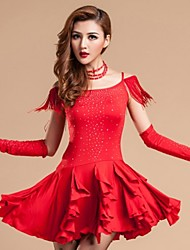 Latin Dance Dresses Women's Performance Rayon Milk Fiber Crystals/Rhinestones 1 Piece Dress M:80 L:82