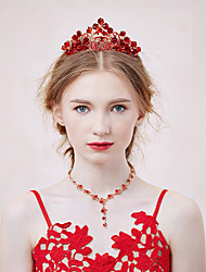 Jewelry Set Women's Wedding / Engagement / Party Jewelry Sets Alloy / Rhinestone Rhinestone Necklaces / Earrings / Tiaras Red