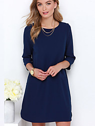 Women's Casual Solid A Line Dress , Round Neck Above Knee Cotton