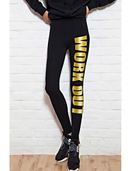 Women's Black Pants Gold Workout Printed Cotton Gym Fitness Legging Slim Low Waist Sports Leggings
