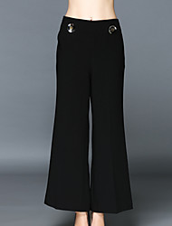 Fashion Women's Solid Black Loose Wide Leg Pants Trousers, Vintage/Casual/Party/Work Pants