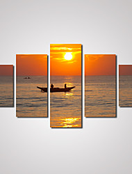 5 Panels Sunset A Boat on the Sea Picture Print on Canvas Unframed