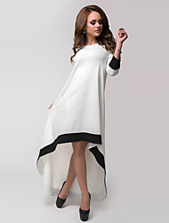 Women's Patchwork White Dresses , Casual / Party Round Long Sleeve