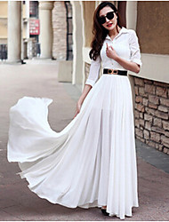 Women's Solid Color White / Black Dresses , Casual Round ¾ Sleeve