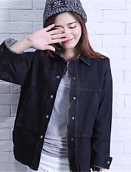 Women's Solid Black Denim Jacket , Casual