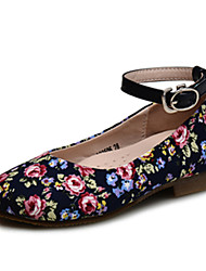 Girls' Shoes Wedding / Outdoor / Dress / Casual Comfort / Round Toe / Closed Toe Cotton Flats Navy