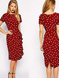 Melos Women's Plus Size Print Red / Black Dresses , Sexy / Bodycon / Casual / Print / Party Round Short Sleeve