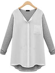 Casual Plus Sizes Women's Wild Slim V Neck Long Sleeve  White / Black Soft Cozy Blouse Shirt