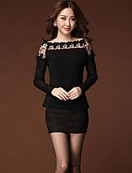 Women's Solid / Patchwork / Lace Black Blouse , Bateau Long Sleeve