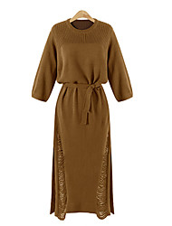 Women's Solid Black / Khaki Dress , Casual ¾ Sleeve