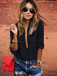 Women's Solid White / Black Shirt , Shirt Collar Long Sleeve