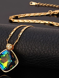 U7 Luxury Shiny Mystic Topaz SWA Rhinestone Stone Pendant Necklace 18K Gold Plated Jewelry for Women High Quality