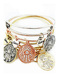 4 PCS With Charms Of Palm Expandable Wire Bangle Bracelet (Internal Diameter :65mm)