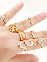 Women Ring Set European Style Flower Star Multi Finger Ring(7pcs/set)