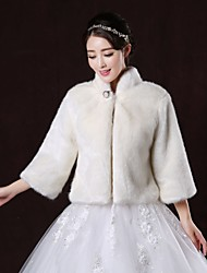 Wedding  Wraps / Fur Wraps / Fur Coats Coats/Jackets Long Sleeve Faux Fur White Wedding / Party/Evening High Neck Button Clasp