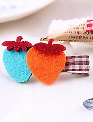 YW Sweet Plush Love Hearth Barrettes (Color Randomly)