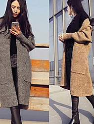 Winter Women's Solid Color Brown / Gray Coats & Jackets , Sexy / Party Tailored Collar Long Sleeve