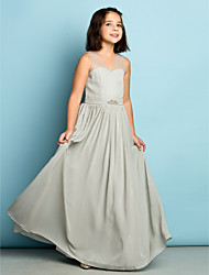Lanting Bride® Floor-length Chiffon Junior Bridesmaid Dress - Mini Me A-line V-neck with Crystal Detailing