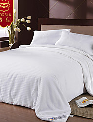 Home Textile King Silk White Comforter 100% Cotton Silk Blanket Four Seasons Silk Quilt Blanket Striped Bedding Set