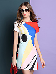 Women's Casual/Daily Plus Size Dress,Color Block Round Neck Above Knee Short Sleeve Multi-color Summer