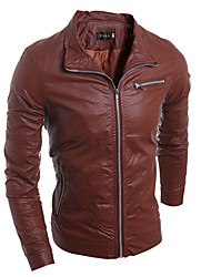 Men's Stand Coats & Jackets , PU Long Sleeve Vintage / Casual / Party / Work Fashion Fall reason