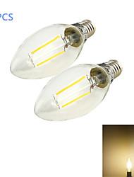 2W E14 Luci LED a candela C35 2 COB 200 lm Bianco caldo Decorativo AC 220-240 V 2 pezzi