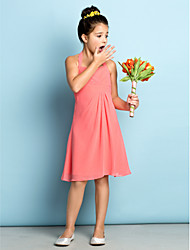 Knee-length Chiffon Junior Bridesmaid Dress - Mini Me A-line Halter with Criss Cross