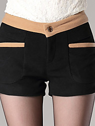 Women's Patchwork Red / Black / Khaki Shorts Pants , Casual