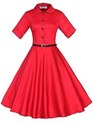 Classic & Traditional Lolita Long Sleeve Medium Length Red Terylene Lolita Dress