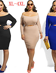 VIVI Women's Solid Color Multi-color plus size  Dresses , Sexy / Party Strapless Long Sleeve