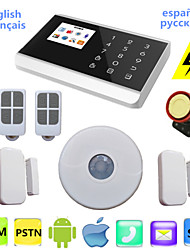 Touch PSTN GSM Alarm System Wireless Voice LCD Android APP For Alarme Residencial Home Security With Ceiling PIR Sensor