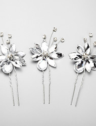 Women's / Flower Girl's Rhinestone / Alloy Headpiece-Wedding / Special Occasion Hair Pin 3 Pieces