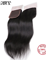 14 Natural Black Straight Human Hair Closure Medium Brown Swiss Lace 36g gram Cap Size